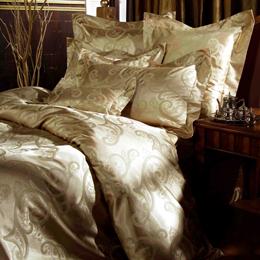 義大利La Belle《典雅金爵》雙人緹花四件式被套床包組