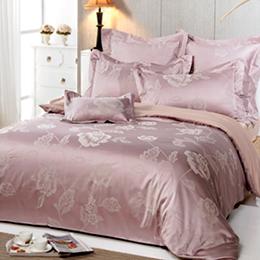 義大利La Belle《紫舞晶戀》雙人緹花四件式被套床包組