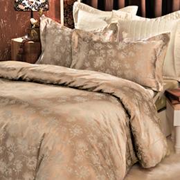 義大利La Belle《花漾魅影》特大緹花四件式被套床包組