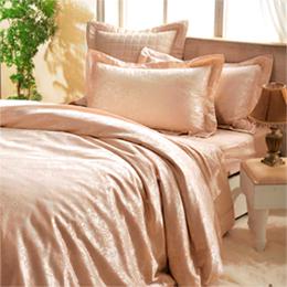 義大利La Belle《愛戀粉晶》雙人緹花四件式被套床包組