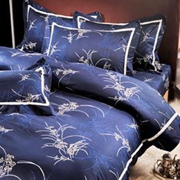 義大利La Belle《棕藍雅逸》雙人四件式舖棉兩用被床包組