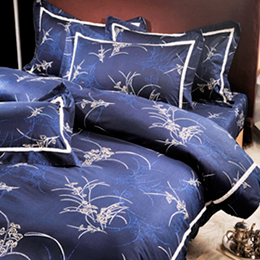 義大利La Belle《棕藍雅逸》加大四件式被套床包組