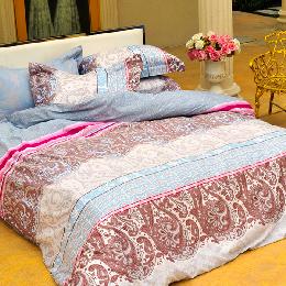 義大利La Belle《極光之影》雙人四件式貢緞兩用被床包組