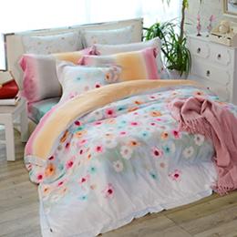 (絕版品出清)義大利La Belle 加大天絲舖棉兩用被床包組-繽紛花季