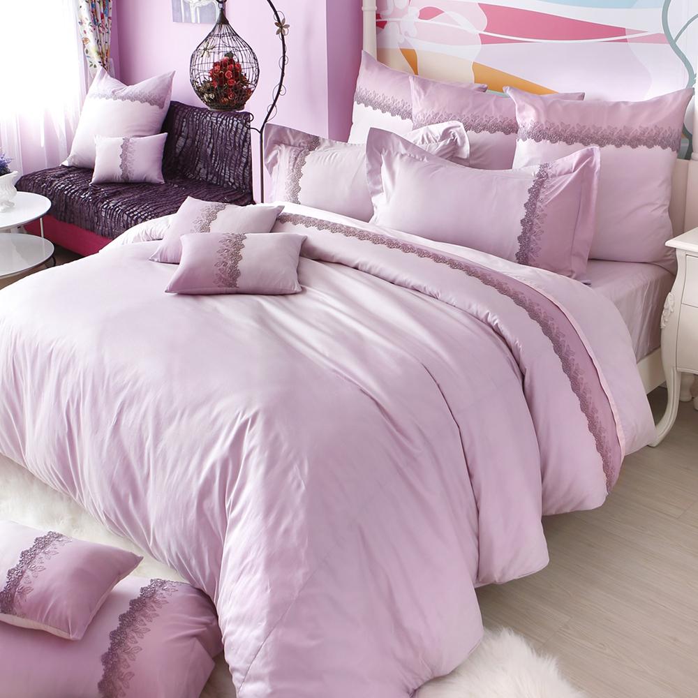 義大利La Belle 特大長絨細棉蕾絲防蹣抗菌舖棉兩用被床包組-凡爾賽玫瑰