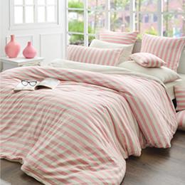 義大利La Belle 雙人純棉色坊針織被套床包組-斯卡線曲(甜粉)