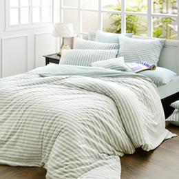 義大利La Belle《斯卡線曲》雙人純棉色坊針織被套床包組-薄荷綠