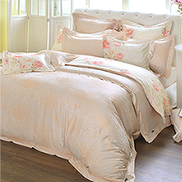 義大利La Belle 雙人天竹緹印花防蹣抗菌舖棉兩用被床包組-花田午後