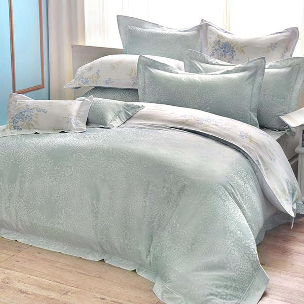 義大利La Belle 特大天竹緹印花防蹣抗菌舖棉兩用被床包組-奢華約定