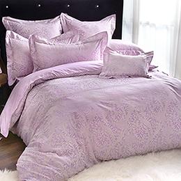 義大利La Belle《紫蘿米雅》加大緹花四件式被套床包組
