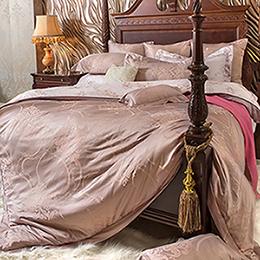 義大利La Belle 雙人天竹緹印花防蹣抗菌舖棉兩用被床包組-優雅旋律
