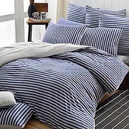 義大利La Belle 雙人純棉色坊針織被套床包組-斯卡線曲(都會藍)