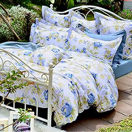 義大利La Belle《傾城花畔》雙人純棉防蹣抗菌舖棉兩用被床包組