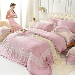 義大利La Belle 特大天絲蕾絲防蹣抗菌舖棉兩用被床包組-愛琴維納斯