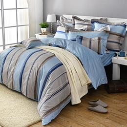 義大利La Belle 加大純棉防蹣抗菌舖棉兩用被床包組-悠閒時刻