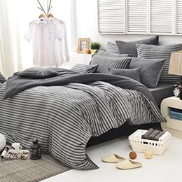 義大利La Belle 單人純棉色坊針織被套床包組-斯卡線曲(鐵灰)