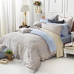 義大利La Belle 雙人天絲防蹣抗菌舖棉兩用被床包組-光影枝蔓
