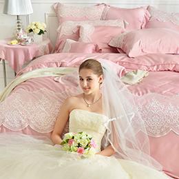 義大利La Belle 加大天絲蕾絲防蹣抗菌舖棉兩用被床包組-雅典娜