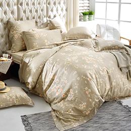 義大利La Belle 加大天絲防蹣抗菌吸濕排汗兩用被床包組-閒情雅緻