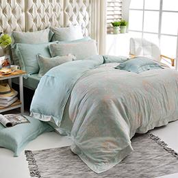 義大利La Belle 特大天絲防蹣抗菌吸濕排汗兩用被床包組-蘿蔓微光