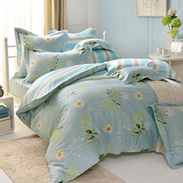 義大利La Belle 特大純棉防蹣抗菌吸濕排汗兩用被床包組-水漾花畔