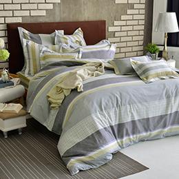 義大利La Belle 雙人純棉防蹣抗菌吸濕排汗兩用被床包組-雅仕風采