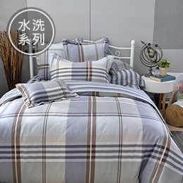 義大利La Belle 雙人水洗棉防蹣抗菌吸濕排汗兩用被床包組-自由年代