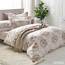 義大利La Belle 雙人純棉防蹣抗菌吸濕排汗兩用被床包組-瑰麗花園
