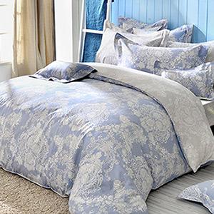 義大利La Belle 加大純棉防蹣抗菌吸濕排汗兩用被床包組-蘭陵世紀