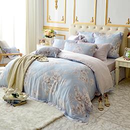 義大利La Belle 雙人天絲防蹣抗菌吸濕排汗兩用被床包組-水芙之戀