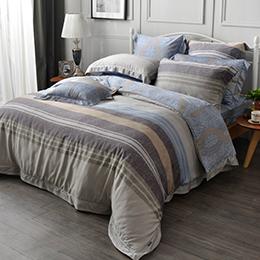 義大利La Belle 雙人天絲防蹣抗菌吸濕排汗兩用被床包組-都會漫影