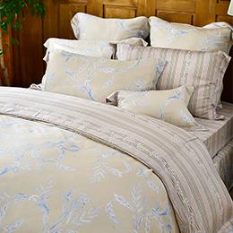 義大利La Belle 特大天絲防蹣抗菌吸濕排汗兩用被床包組-金柏恩寵