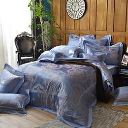 義大利La Belle 特大天竹緹蕾絲防蹣抗菌吸濕排汗兩用被床包組-威克倫斯