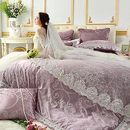 義大利La Belle 雙人天竹緹蕾絲防蹣抗菌吸濕排汗兩用被床包組-奧莉薇亞