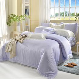 義大利La Belle 雙人天絲蕾絲防蹣抗菌吸濕排汗兩用被床包組-愛莉兒
