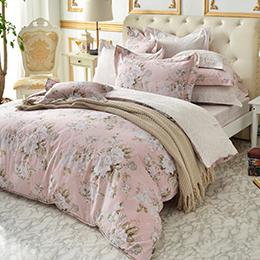 義大利La Belle《花戀粉漾》 雙人純棉防蹣抗菌吸濕排汗兩用被床包組