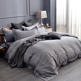義大利La Belle 雙人長絨細棉刺繡被套床包組-典雅風範(爵士灰)