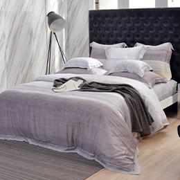 義大利La Belle《爵色亞地》加大天絲四件式防蹣抗菌吸濕排汗兩用被床包組
