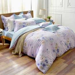 義大利La Belle 特大純棉防蹣抗菌吸濕排汗兩用被床包組-紫韻戀香