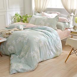 義大利La Belle 雙人純棉防蹣抗菌吸濕排汗兩用被床包組-清秀佳人