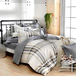 義大利La Belle 雙人純棉防蹣抗菌吸濕排汗兩用被床包組-異想空間