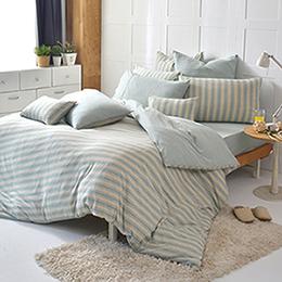 義大利La Belle《斯卡線曲》特大四件式色坊針織被套床包組-亞麻綠