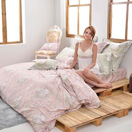 義大利La Belle《莉亞公主》特大天絲四件式防蹣抗菌吸濕排汗兩用被床包組