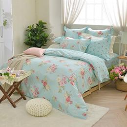 義大利La Belle《花月璀燦》加大防蹣抗菌吸濕排汗兩用被床包組