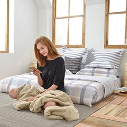 義大利La Belle《率性生活》加大防蹣抗菌吸濕排汗兩用被床包組