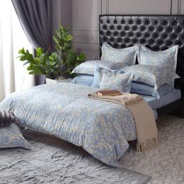 義大利La Belle《蘿蔓印象》特大防蹣抗菌吸濕排汗兩用被床包組