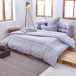 義大利La Belle《悠然灰調》特大防蹣抗菌吸濕排汗兩用被床包組