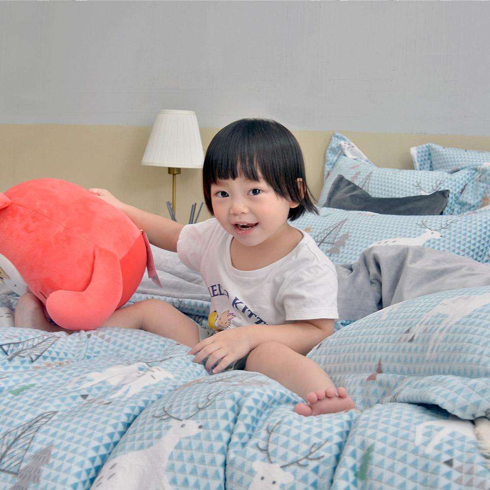 義大利La Belle《小鹿遊記》特大立體雪雕絨防蹣抗菌吸濕排汗被套床包組