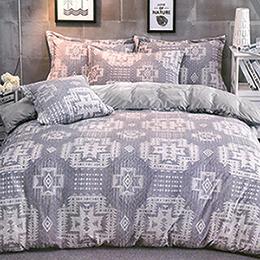 義大利La Belle《灰色空間》特大立體雪雕絨防蹣抗菌吸濕排汗被套床包組