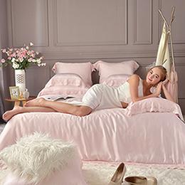 義大利La Belle《米菲娜》特大天絲蕾絲四件式防蹣抗菌吸濕排汗兩用被床包組
